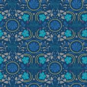 Lewis & Irene - Lindos - 5871 - Stylised Greek Floral Print on Navy Blue - A270.3 - Cotton Fabric